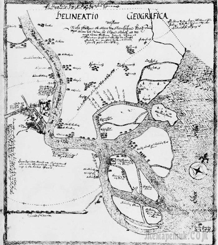 Карта Петербурга за 70 лет до основания его Петром I