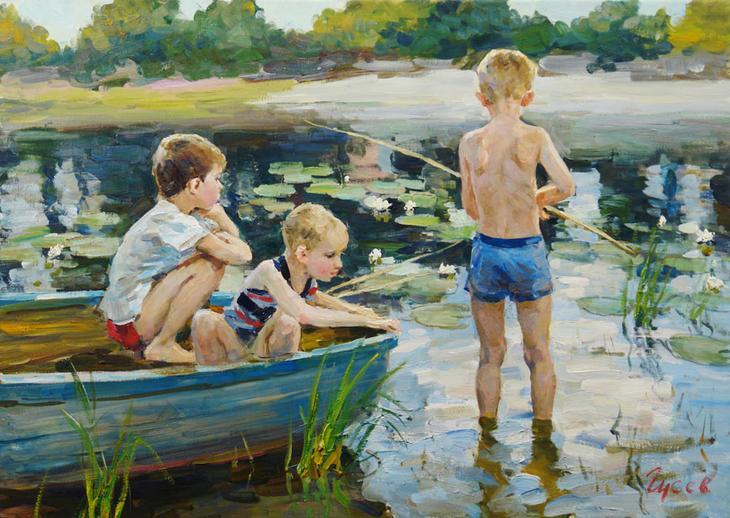 Три рыбачка, Владимир ГуÑев- Ð¶Ð°Ð½Ñ€Ð¾Ð²Ð°Ñ ÐºÐ°Ñ€Ñ'ина, лето, река, лодка, мальчики, рыбалка