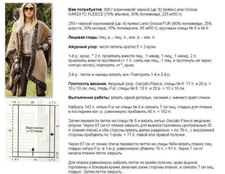 Схема и описание работы над женским жилетом с меховой отделкой