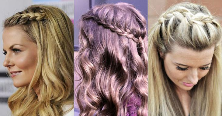 Косичка водопад на средние волосы