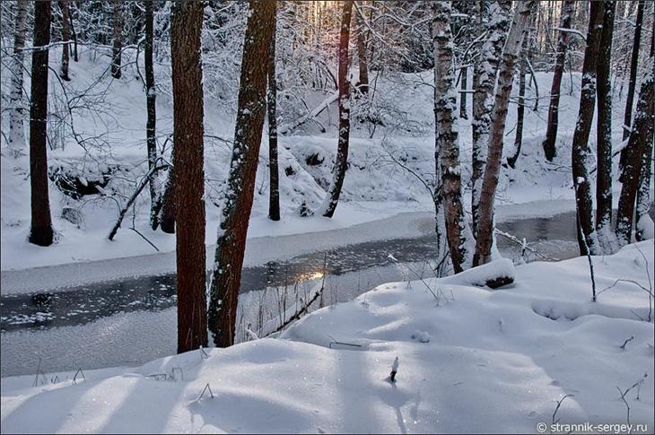 Река Ушема среди зимних лесов Мещеры