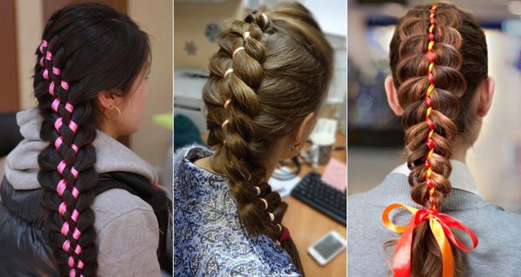Как вплетать волосы в ленту