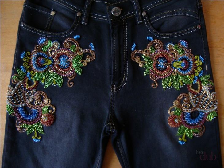 Декорирование бисером джинсов