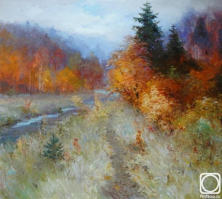 Картина маслом на холсте. Комаров Николай. Тропинка к озеру