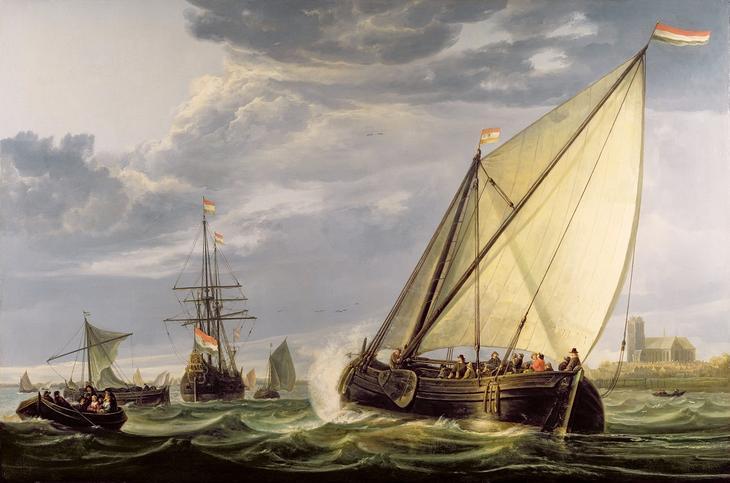 Корабли на Маасе -- 1650-55, 100х152, Коллекция Уоллес Лондон