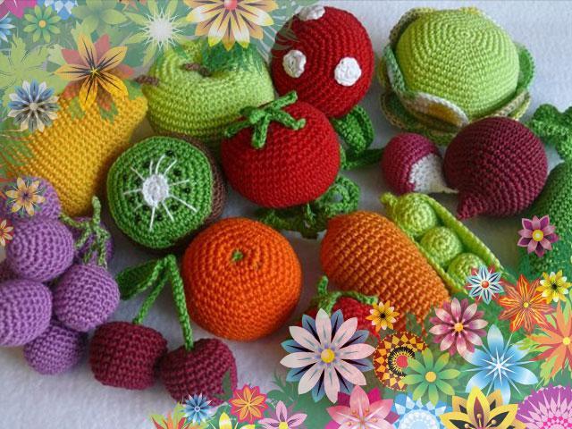 Вязаные овощи и фрукты крючком схемы вязания