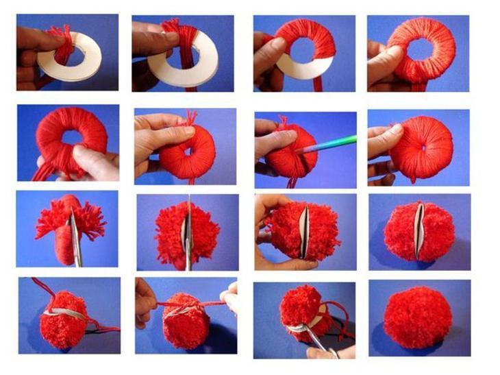 Фото пошагового изготовления помпона из ниток с помощью картонного шаблона