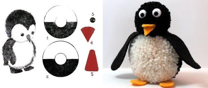 Пингвин из помпонов