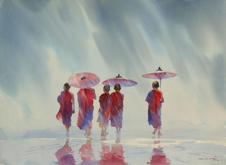 Акварельные картины художник Мьё Вин Онг 5