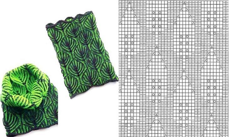 Еще один вариант шарфа с листиками