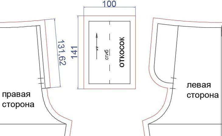 Выкройка гульфика для пошива женских брюк, вариант 3