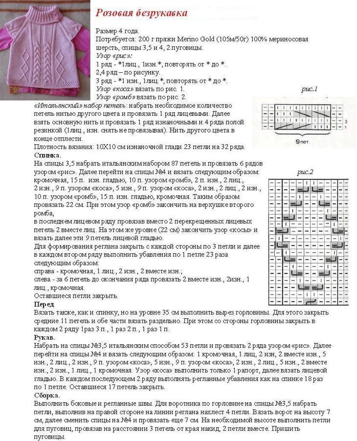 Розовый жилет для девочки спицами по схеме