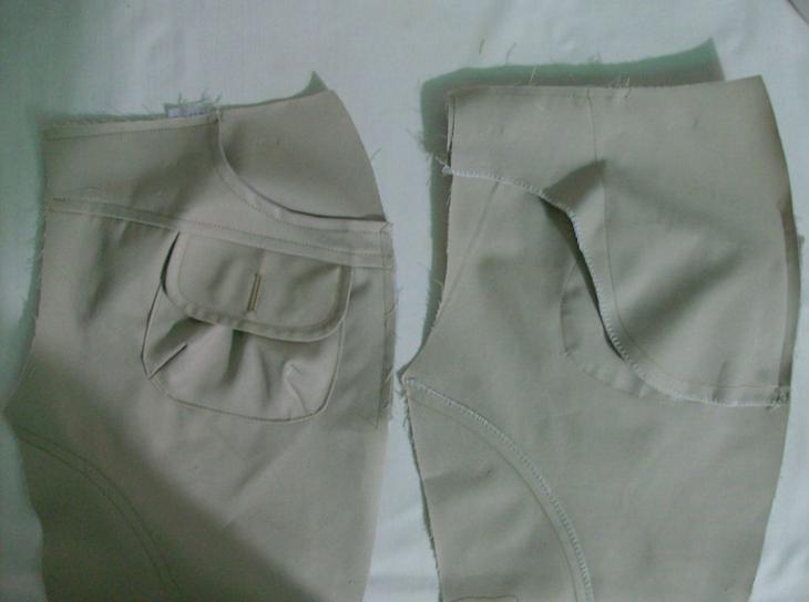 Пришитые карманы к полуфабрикатам женских брюк