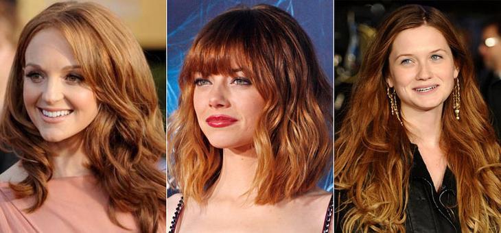 Омбре на рыжих волосах средней длины фото