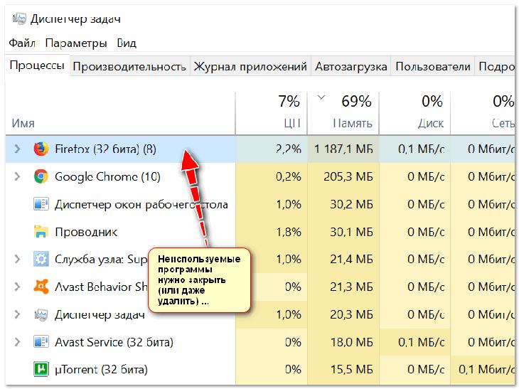 Неиспользуемые программы нужно закрыть (или даже удалить) ...