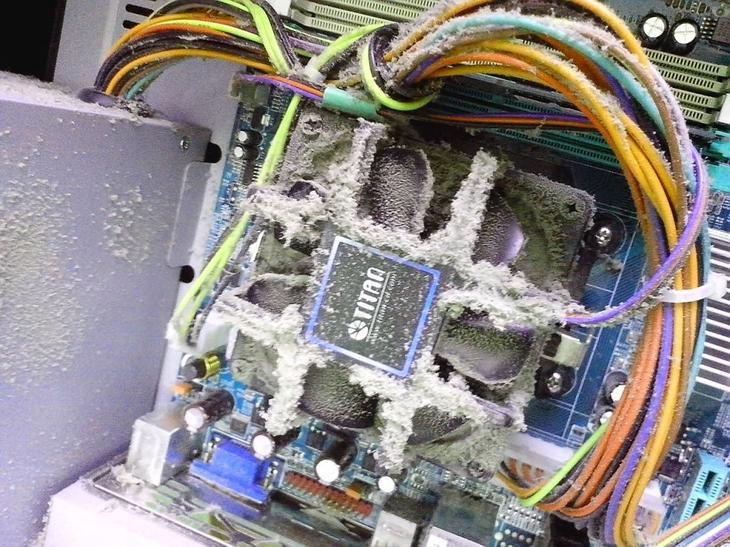 Внутренности ПК, покрытые пылью за полгода интенсивной работы
