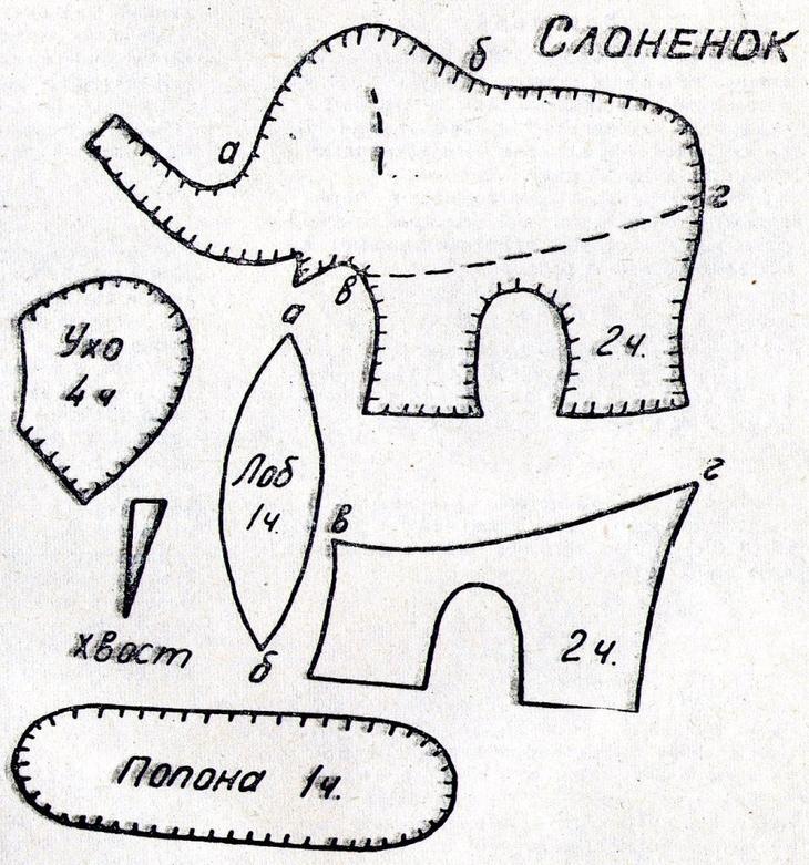 Простая выкройка слоненка