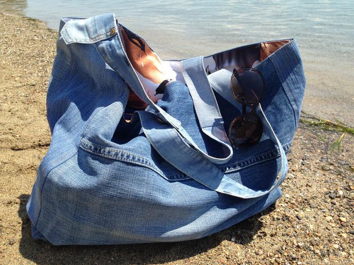 fullsize Большая пляжная сумка из старых джинсов своими руками
