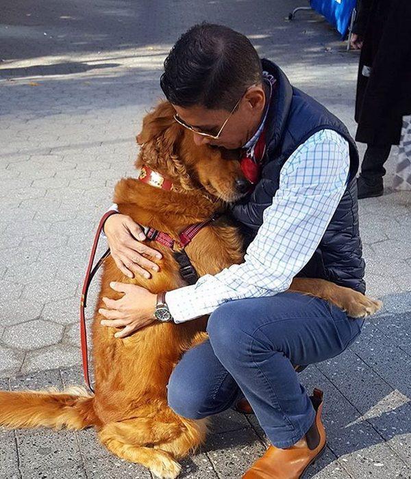 Пёс, который одаривает прохожих объятиями