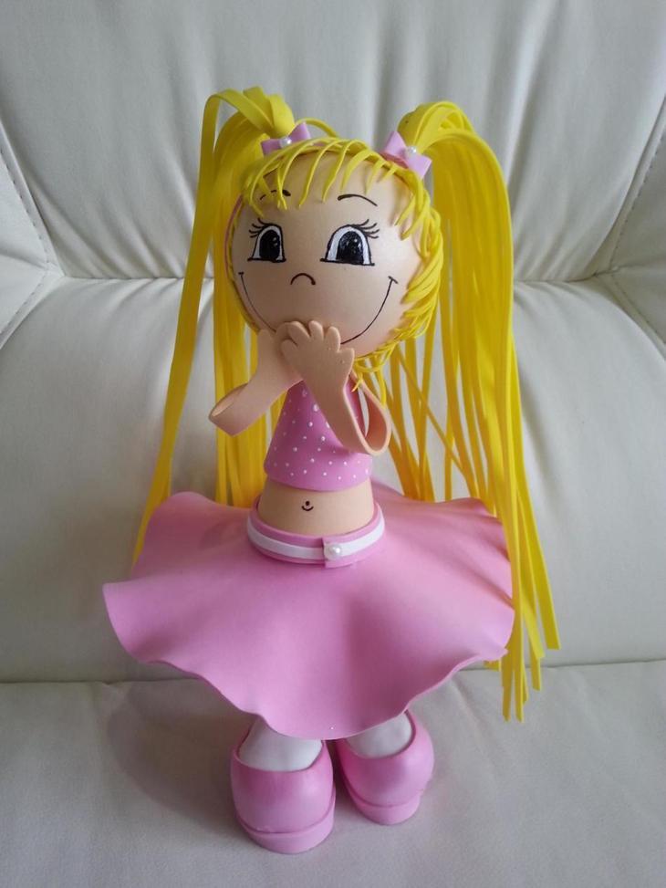 Вот такие волосы могут получиться у куклы из фоамирана
