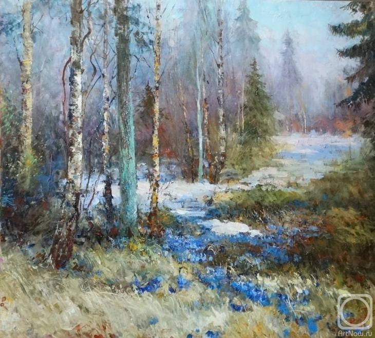 Картина маслом на холсте. Комаров Николай. Подснежники